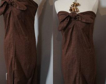 Vintage 70s Brown Strapless Maxi Dress Cotton or Cotton blend - Medium