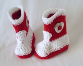Baby Cowgirl Boots, Cowboy Boots, Baby Girl Booties, Red and White, Valentine's Day, Newborn to 12 Months