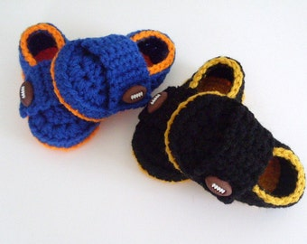 Baby Boy Shoes, Football Shoes, Crochet Booties, Baby Loafers,  Newborn to Toddler, Custom Colors