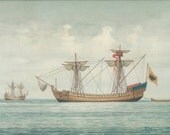 Vintage Sea Print, 1992, Transport 13th 14th Century, Boat 31, Greek Sailing Ship Print, Coastal Art Greece, Nautical Art