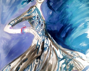 Oscar de la Renta in Blue . Fashion Illustration/ Figurative Art  By Ros Webb