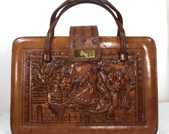 Vintage Retro brown tan hand tooled leather purse hand bag tote box shape medium