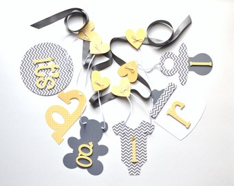 Yellow and grey baby shower decorations chevron it's a girl banner by ParkersPrints on Etsy