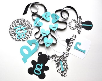 Cheetah Baby Shower Decorations Leopard Black And Turquoise Itu0027s A Girl  Banner By ParkersPrints On Etsy