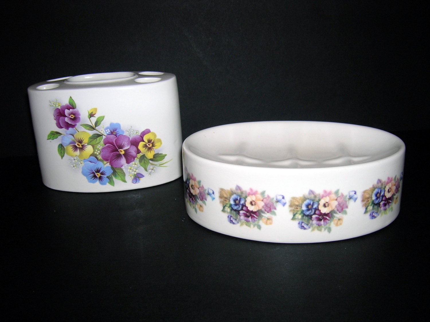 ceramic toothbrush holder and soap dish pansies by. Black Bedroom Furniture Sets. Home Design Ideas