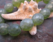 Frosty Green Faceted Firepolished 12mm Czech Glass Beads