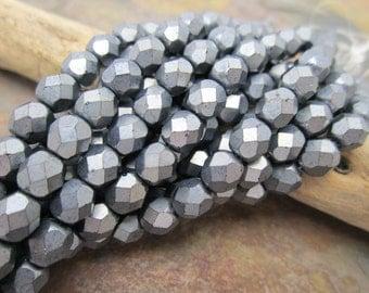 Matte Hematite Faceted Firepolished 6mm Czech Glass Beads