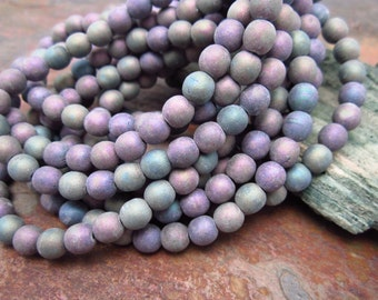 Purple Mist Druk 6mm Czech Glass Beads Matte Finish, Color Mix