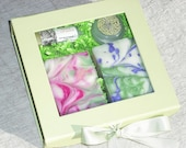 Bath and Beauty Gift Set / 2 soap lip Balm solid perfume / Handmade for Her