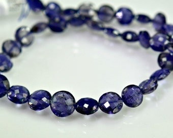 AAA Iolite Coin Beads  Micro Faceted Iolite Briolette Beads 6-7mm