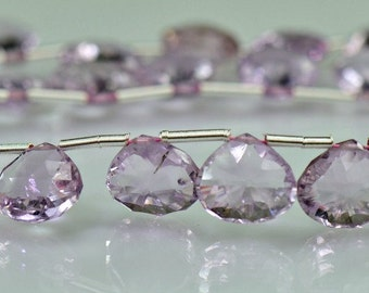 Sale -Pink Amethyst Concave Heart Shaped Briolettes  AAA