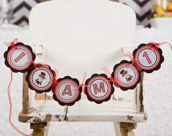 Magic Party I AM 1 Happy First Birthday MINI BANNER  - Magician Party Decorations in Black and Red
