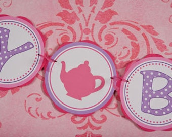 Tea Party HAPPY BIRTHDAY Banner - Tea Party Birthday Party Decorations in Pink and Purple