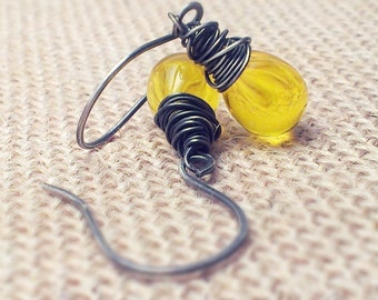 Yellow Czech Glass Oxidized Silver Wire Wrapped Dangle Earrings
