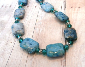 Aqua Blue Malachite Necklace
