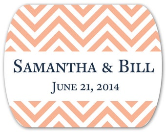 "Personalized Wedding Favor Stickers - Chevrons - Mint Tin Labels - 2"" x 1.6"""