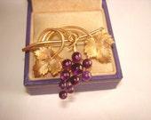 Vintage Krementz Jewelry Brooch Amethyst Grape GF Vines