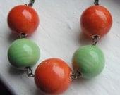 Orange Beaded Necklace. Green Beaded Necklace. Gumball Necklace. Ceramic Necklace. Chunky Necklace. Statement Jewelry