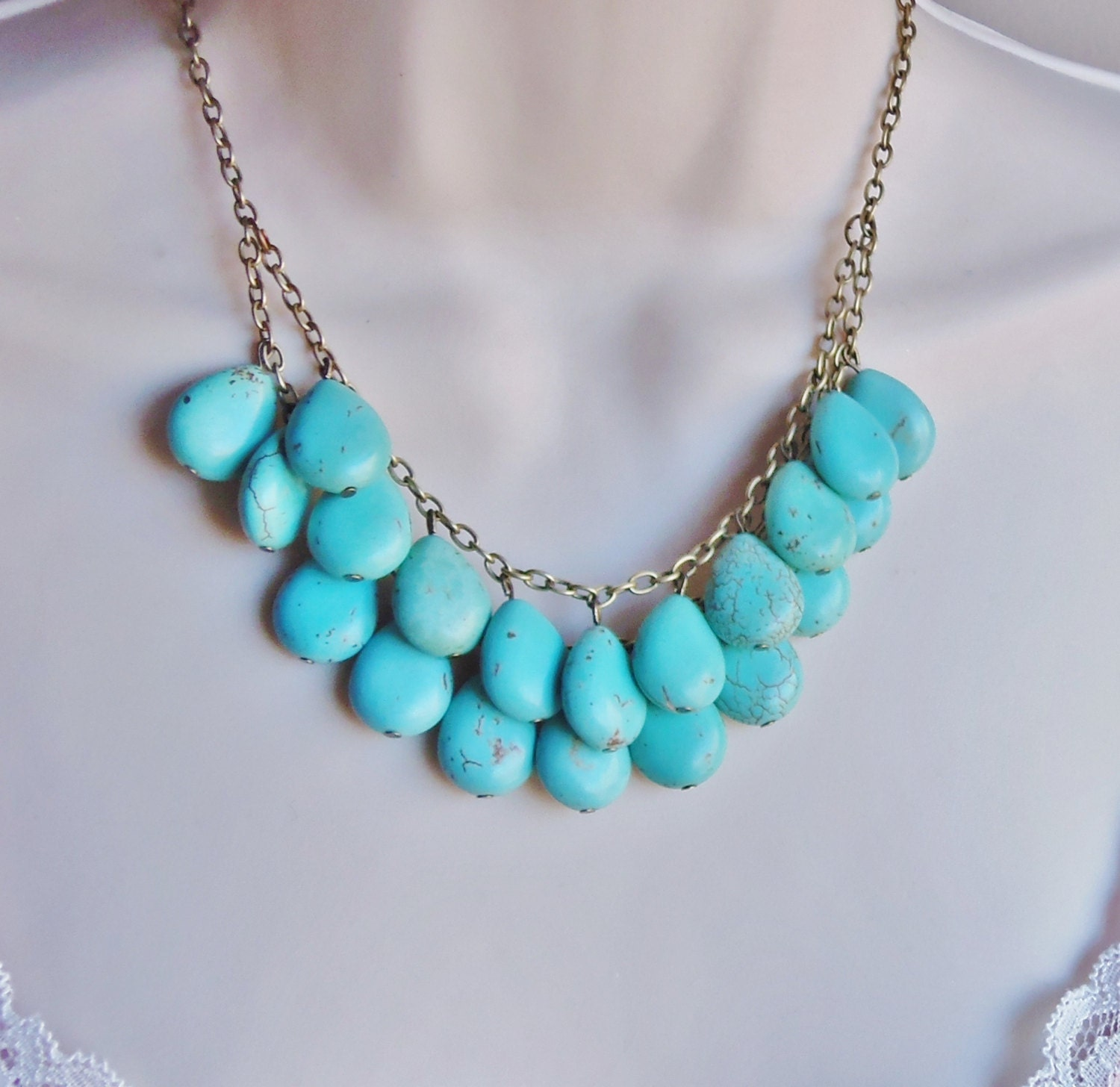 turquoise statement necklace  layered necklace  bridal