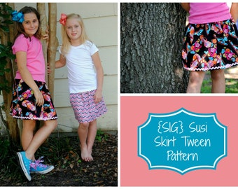 "INSTANT Download PDF SIG Susi Skirt Pattern eBook for Youth/Tweens - Size 6 to 14, including 18"" Doll Pattern"