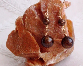 Wire Wrapped Jasper and Granulated Brown Spacer Gold Filled Earrings