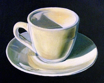 Coffee Kitchen Art Print--Espresso Cup--From Original Oil Painting, Coffee art painting, coffee cup