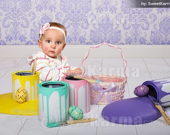 Paint Easter Eggs Child Digital Photography Background PSD File 467