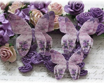 Violeta Butterfly Embellishment Die Cuts for Scrapbooking, Cardmaking, Tag Art,  Mixed Media, Mini Albums