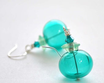 Teal Bubble Earrings - Hollow Light Weight Glass Dangle Earrings - Glass Bead Earrings