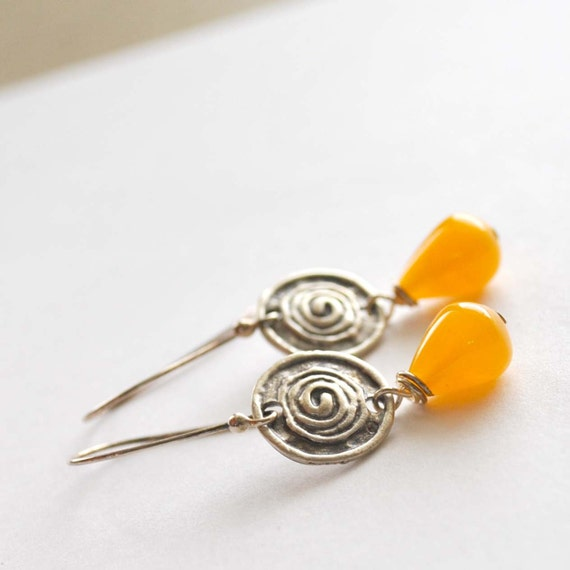 Yellow Teardrop Glass Earrings, Rustic Swirl Pewter Link, Yellow Drop Earring on Sterling Silver Ear Wires