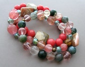 Coral Spring Set of Bracelets with a variety of crystals and gemstones on a stretchy thread