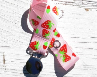 Baby Girls Strawberry Pacifier Clip- Pink & Red