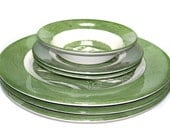 Set of 6 Pieces of 1950s Royal China USA Colonial Homestead Green Dishes