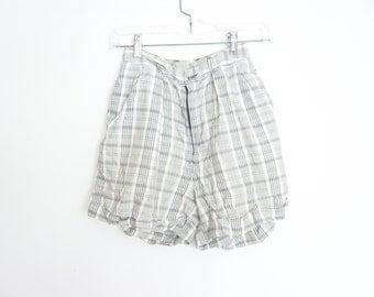 vintage 80s high waist pleated plaid shorts xs