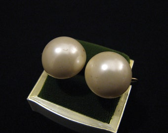 Vintage Marvella Gold Tone and White Faux Pearl Puffy Bubble Screwback Clip Earrings