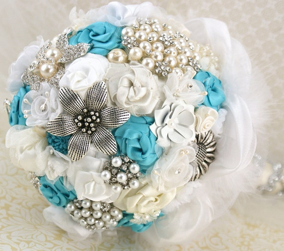 Turquoise Flowers For Wedding: Brooch Bouquet And Matching Boutonniere Wedding By SolBijou