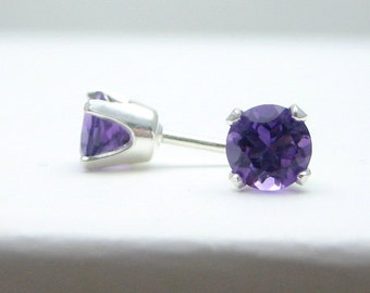 Amethyst Sterling Silver Stud Earrings - 3 mm 4 mm 5 mm - Post Earrings - Purple Earrings - Amethyst Birthstone - Amethyst Gemstone