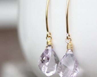 Gold Lilac Pink Amethyst Gemstone Earrings - Twisted Cut - 14KT Gold Fill