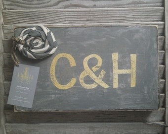 Mustard Yellow and Grey Bride & Groom Initials on Distressed Wood Board with Chevron Rosette