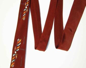 Vintage 50s Tie Modernist Rockabilly Mens Hand Painted Rust Burnt Orange Abstract Necktie