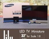 New LED TV Miniature for dollhouse scale 1:12, Lati doll or similar Dolls