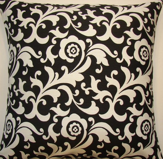 Decorative Pillow Cover in Black and White Waverly Angelique, 18' Pillow Cover, Black and White Pillow Cover, Flowers and Flourishes