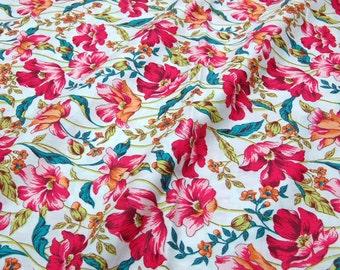 Quilt Half Yard Cotton Fabric Floral Poppy Flower in Ivory