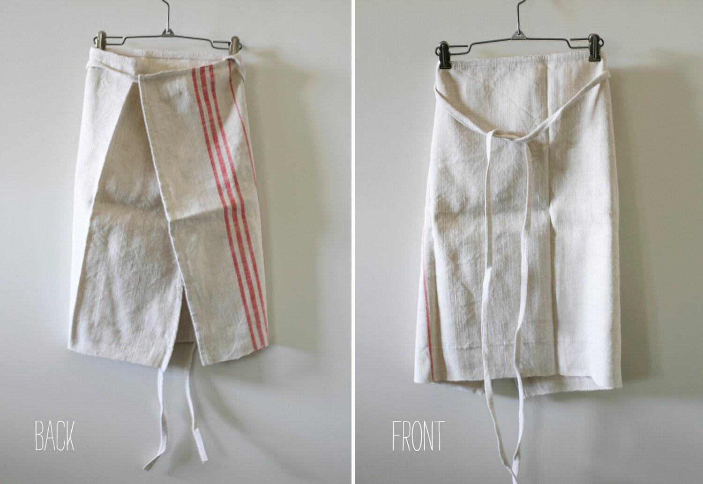 White bistro apron -  Hemp Linen Bistro Apron Zoom