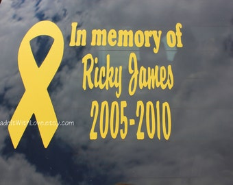 Personalized Childhood Cancer Awareness Ribbon Window Decal