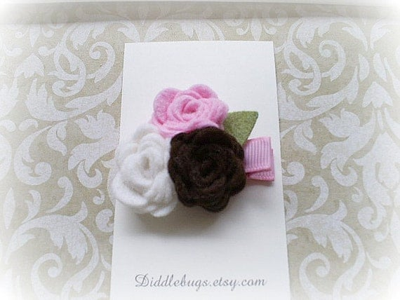 Chocolate, White and Pink Felt Roses Hair Clip, Felt Roses Hair Clip, Flower Hair Clip, Girls Flower Hair Clip