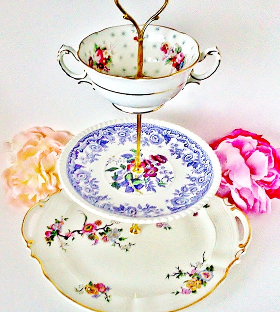 The Céline Vintage China Dessert Tea Stand by Le Petit Pretties - 3 Tier