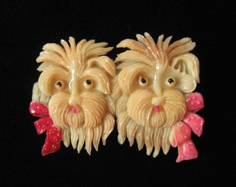 Celluloid Double Scotty Dog Brooch, Made in Occupied Japan