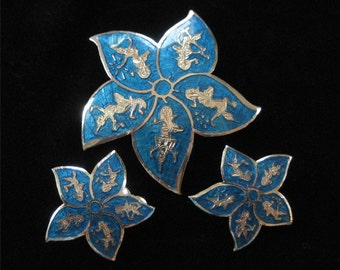 Blue Enamel Siam Sterling Star Brooch and Earring Demi