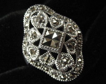Sterling Silver Marcasite Ring, Size 8